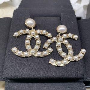 Chanel Gold Pearly White Metal CC Dangle Earrings